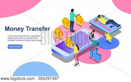 Online Payment. Money Transfer, Online Banking, Mobile Wallet, Pay History, Mobile App. Man Pays Pho