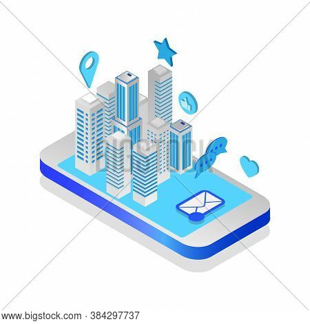 City Isometric Plan With Buildings On Smart Phone. Map On Mobile Application. 3d Vector Illustration