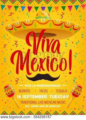 Viva Mexico Vector Poster With Mexican Symbols Sombrero, Mustaches And Maracas. Cartoon Flyer With F