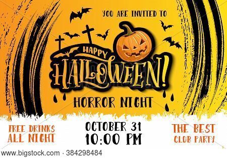 Halloween Party Vector Invitation Poster With Horror Night Pumpkin Monster, Spooky Bats And Cemetery