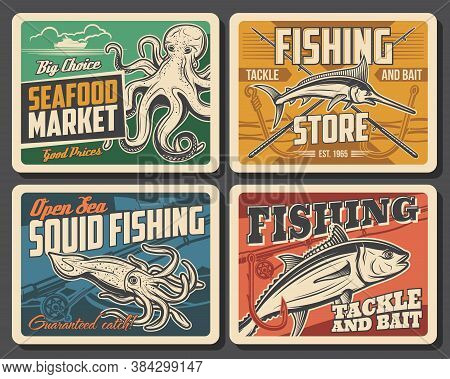 Tuna Fish, Marlin, Squid And Octopus Vector Retro Posters. Seafood Market Or Restaurant Production.