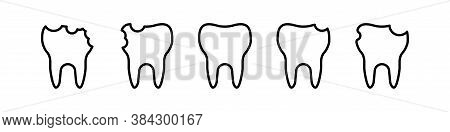 Tooth Icon Line Design. Vector Dent Cincept Illustration In Flat