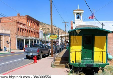 September 5, 2020 In Virginia City, Nv:  Historical Rail Car On Display On The Main Street With Vint