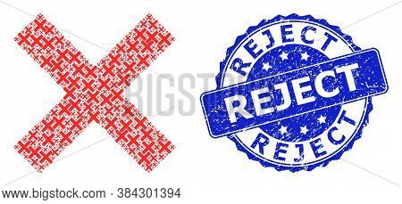 Reject Scratched Round Stamp Seal And Vector Recursive Composition Reject Cross. Blue Stamp Seal Has