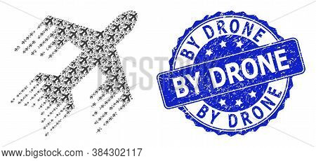 By Drone Unclean Round Stamp Seal And Vector Recursion Collage Jet Plane. Blue Stamp Seal Includes B