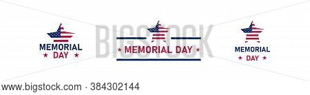 Memorial Day, Simple Icon Set. Flag Usa Concept Illustration In Vector Flat