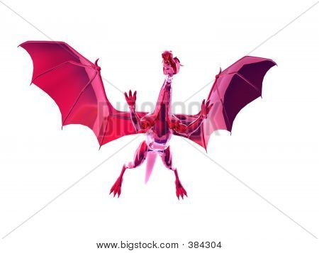 isolated red dragon poster