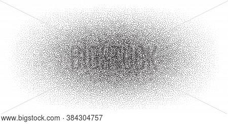 Dotwork Spot Pattern Vector Background. Sand Grain Effect. Black Noise Stipple Dots. Abstract Noise