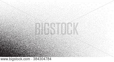 Dotwork Pattern Vector Background. Black Noise Stipple Dots. Sand Grain Effect. Black Dots Grunge Ba