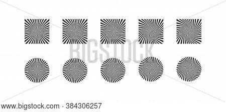 Black And White Hypnosis Circle Illusion Background. Vertigo Pattern Concept In Vector Flat