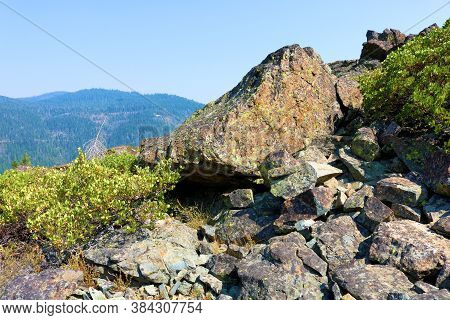 Volcanic Rocks On A Mountain Ridge Surrounded By Chaparral Plants Taken At The Sierra Buttes Near Si