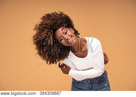 Happy African American Woman Smiling.