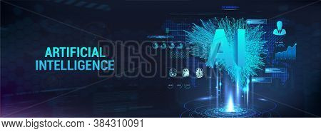 Hi-tech Technology Banner With Concept Artificial Intelligence, Imitation Of The Human Mind. Polygon