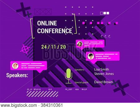 Modern Poster Online Conference With Abstract Shapes And Trendy Design. Invitation Online Business W