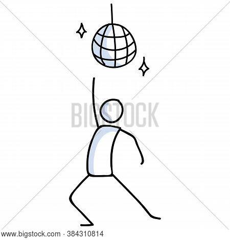 Hand Drawn Stickman 70s Disco Dancer Concept. Simple Outline Ballerina Figure Doodle Icon Clipart. F