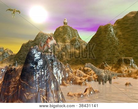 Several beasts in a fantasy landscape by sunset poster