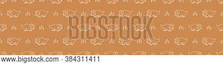 Seamless Background Triceratops Dino Gender Neutral Baby Border Pattern. Simple Whimsical Minimal Ea