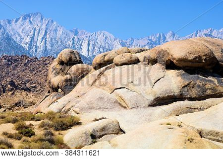 Large Boulders On The Arid Desert With Mt Whitney Beyond Taken At The Alabama Hills In Lone Pine, Ca
