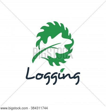 Logging Logo Design Wood Cutting Industry. Nature Element Vector Sawmill Icon Timber Template Inspir