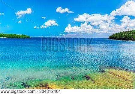 Amazing Gorgeous Natural Inviting Landscape View Of Bruce Peninsula Park At Georgian Bay, Lake Huron
