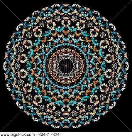 Celtic Style Textured Round Mandala Pattern. Colorful Tapestry Background. Grunge Backdrop. Intricat