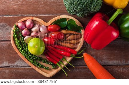 World Food Day, Top View Of Various Fresh Organic Fruit And Vegetable In Heart Plate With Copy Space