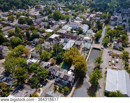 Scenic Seasonal Landscape From Above Aerial View Of A Small Town Countryside Of Lambertville New Jer