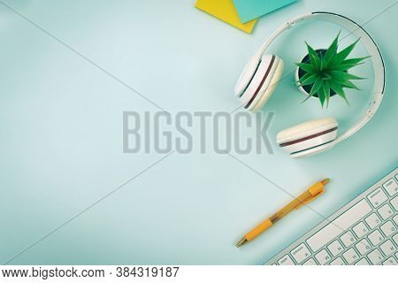 Modern Clean Creative Office Desk Or Table On Top View Or Flat Lay And Right Frame Office Supplies A