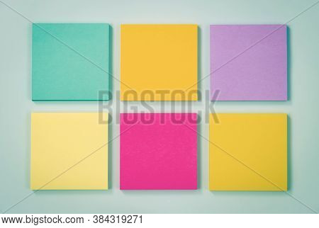 6 Color Stick Note Or Note Pad As Green,purple,pink,yellow On Modern Clean Creative Office Desk Or O