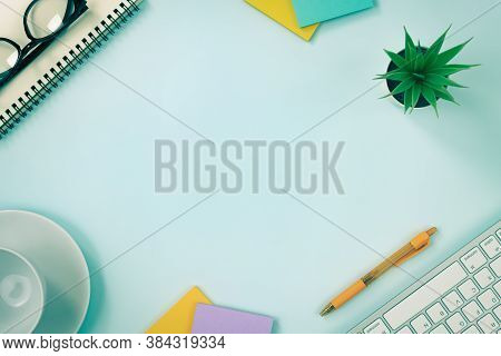 Modern Clean Creative Office Desk Or Table On Top View Or Flat Lay And Stationery As Keyboard Spiral