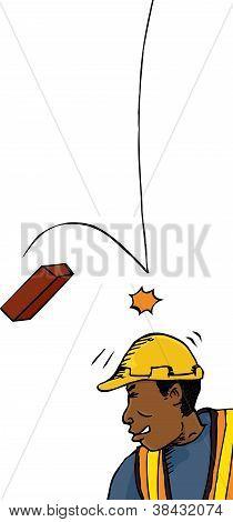 Brick Falls On Worker