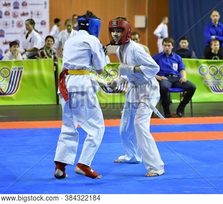Orenburg, Russia - March 5, 2017 Year: Boys Compete In Karate