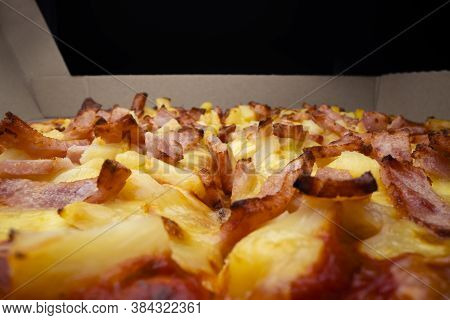 Macro View Of Takeaway Pizza, Shot With Macro Probe Lens