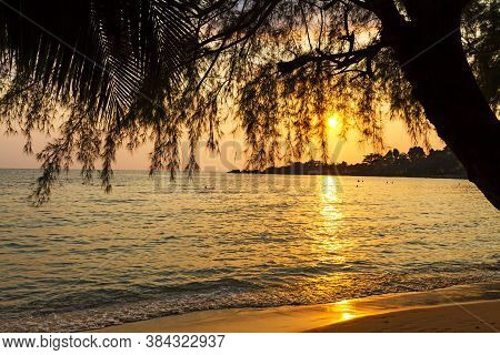 Sunset Idyllic With Silhouette Of Tree At Beach Koh Chang Thailand. Koh Chang Is Located In The East