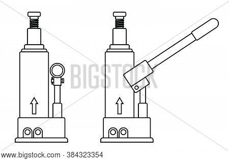Hydraulic Car Jack Icon. Car Belt In Repair Shops. Increased Lift. Lifting Transport To Change Wheel