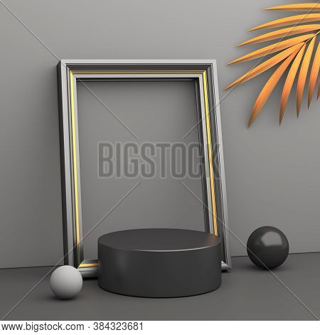 Black Friday Sale Decoration With Blank Frame Flying Gold Balloon Product Display Mock Up On Studio