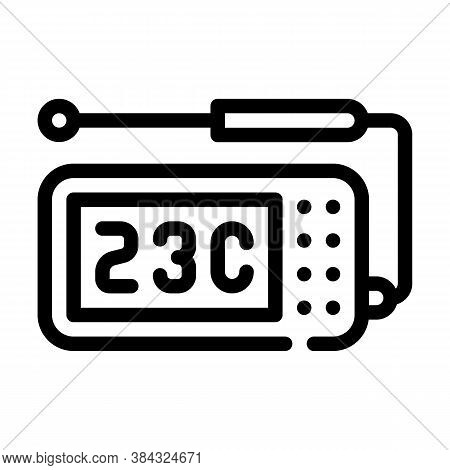 Thermometer With Probe Measuring Equipment Line Icon Vector Illustration