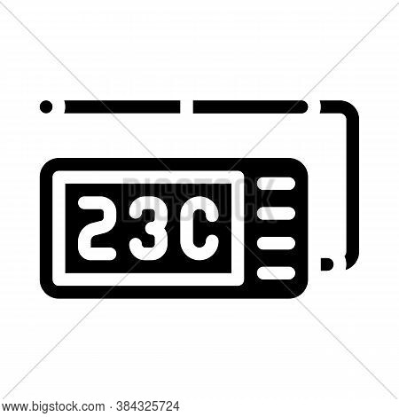 Thermometer With Probe Measuring Equipment Glyph Icon Vector Illustration