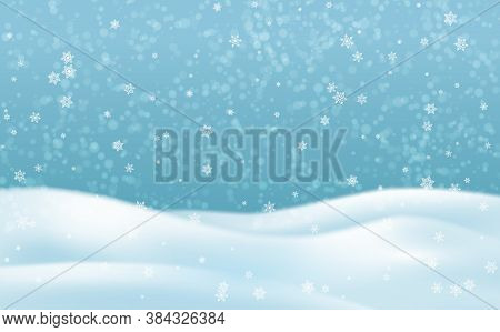 Snow Hills Landscape. Winter Snowy Background With Sky, Snowdrift And Snowflakes. Christmas Serene L