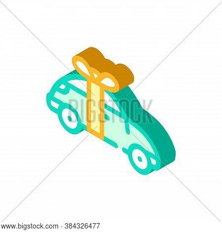 Car Raffle Isometric Icon Vector Isolated Illustration