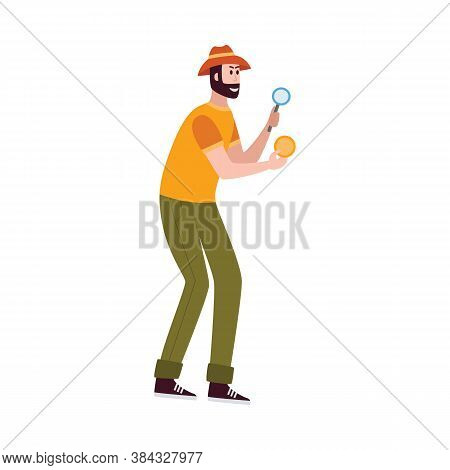 Archaeologist Explorer Of Ancient Civilization Vector Illustration Isolated.