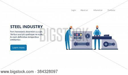Steel Industry Banner With Foundry Factory Workers Casting Metal