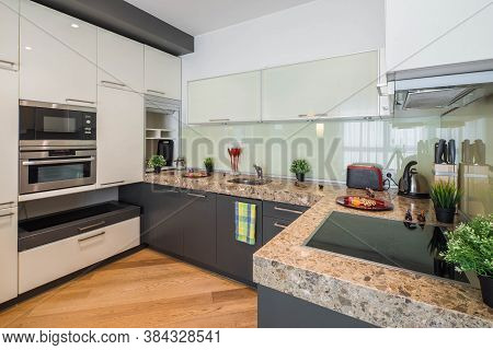 Modern Interior Of Kitchen. Stylish Kitchen Set. Home Appliances.