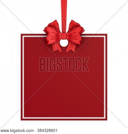 square christmas label with red ribbon and bow on white background. Isolated 3D illustration