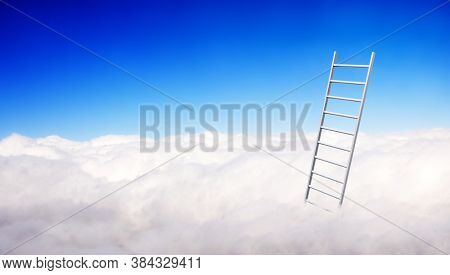 Ladder of Success Concept. Horizontal banner with stair in clouds on blue sky background. Steps to heaven. Fantastic scene with Stairway to heaven. Mock up template. Copy space for text. 3d rend