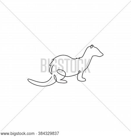 One Single Line Drawing Of Funny Ferret For Pet Logo Identity. Endangered Fauna Mascot Concept For N