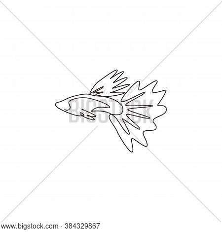 One Continuous Line Drawing Of Cute Guppy Fish For Logo Identity. Millionfish Pet Mascot Concept For