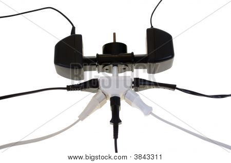 plugs in adapters isolated on white background poster