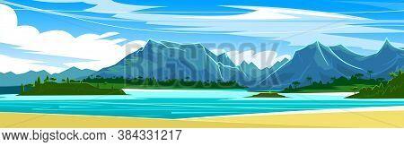Ocean Sandy Shore. Tropical Beach. Blue Sky, Mountains In The Distance. Flat Style. Vector Illustrat