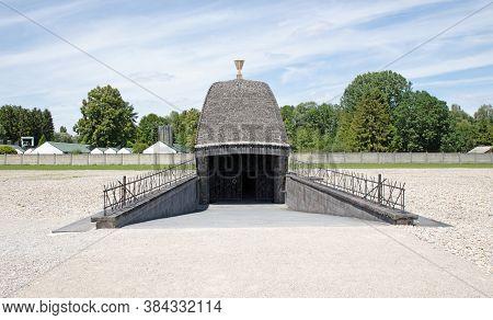 Dachau, Germany - July 13, 2020: View Of Jewish Memorial At Concentration Camp. Jewish Memorial At C